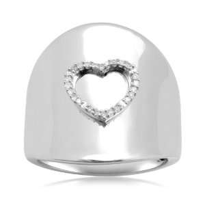 Sterling Silver Concave Shape Heart and Diamond Accent Ring (1/20 cttw