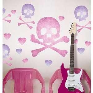 Pink Skulls Vinyl Mural Wall Stickers Baby