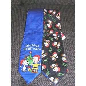 Peanuts Snoopy Charlie Brown Reversible Christmas Neck Tie