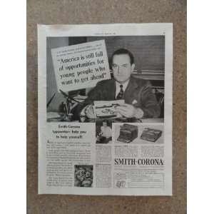 Smith Corona Typewritesr ,Vintage 40s full page print ad