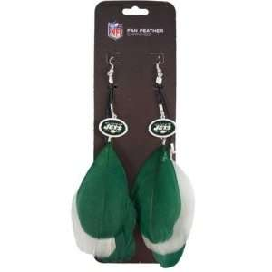 New York Jets NFL Team Color Feather Earrings Sports