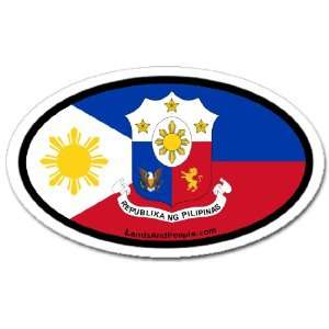 Philippines Flag Car Bumper Sticker Decal Oval