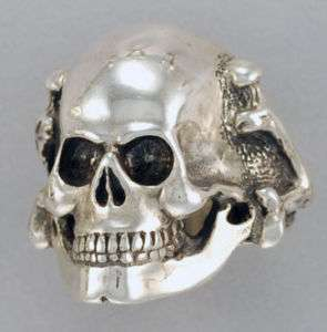 Death Head Skull with Bones Sterling Silver Ring