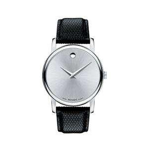 Movado 2100001 Mens Watch Silver Dial Museum Quartz Leather Strap
