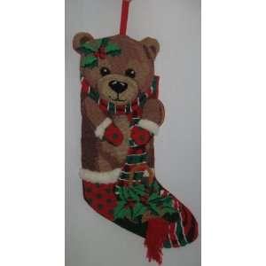 Hand Made Needle Point Teddy Bear Christmas Stocking