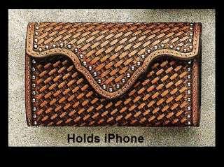 Basket Tooled Leather   iPhone CASE  Belt Clip  Western