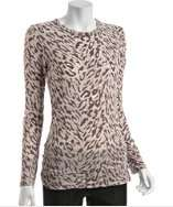 style #307963206 brown leopard print burnout jersey top