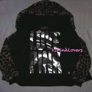 VICTORIA SECRET LOVE PINK LEOPARD FAUX FUR HOODIE L JACKET BLING