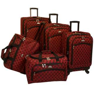 American Flyer Madrid 5 Piece Spinner Luggage Set   Red MSRP $480