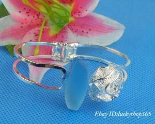 Nice S60 Silver big rose cuff bracelet bangle