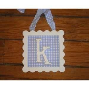 Rr Sale   On Sale Framed Wooden Letters   K   Blue Gingham