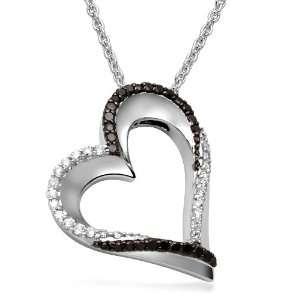 Sterling Silver Black and White Diamond Open Heart Pendant