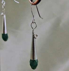 Palace Green Opal SWAROVSKI CRYSTAL BRIOLETTE cone EARRINGS