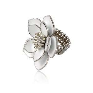 Large White Flower Rhinestone Stretch Fashion Ring