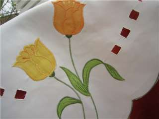Country Tulip Flowers Embroidered square white Table Cloth TOPPER