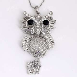 Silver Plated Animal Owl Crystal Bead Pendant Fit Chain