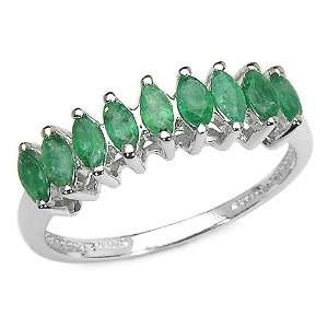 0.90 Carat Genuine Emerald Sterling Silver Ring Jewelry