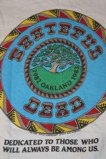 vtg 80s 1982 1983 Oakland GRATEFUL DEAD t shirt * INDIAN bill graham