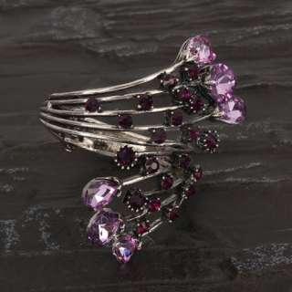 Stylish Elegant Charming Purple Glass Style Rhinestone Bangle