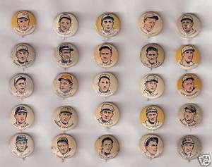 Complete Set 25 Baseball Cracker Jack Pinbacks / Pins