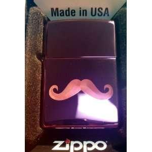 Zippo Custom Lighter   BIG Mustache Logo Abyss Purple Hi Polish Chrome