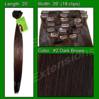 REMI Dark Brown Clip in Hair Extensions 20 Inches