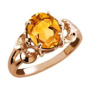1.15 Ct Oval Yellow Citrine 18k Rose Gold Ring Jewelry
