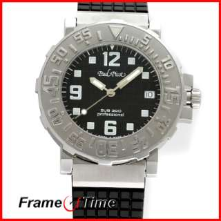 Paul Picot Mens C Type Classic Black Rubber Dive Watch