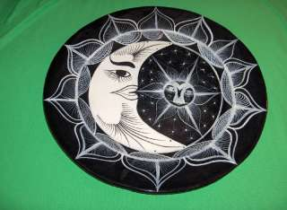 """Large Black/White 16""""Round Buffet Serving Tray, Moon&Stars, Mexico"""