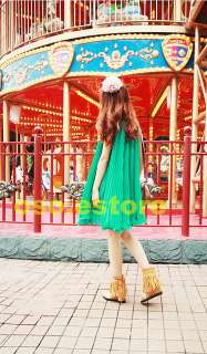 Sexy Women V Neck Loose Green Sleeveless Elegant Pleated Mini Dress