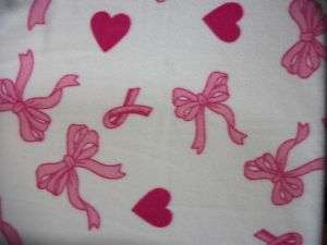 Fleece fabric BTY: pink breast cancer ribbon/bow/heart