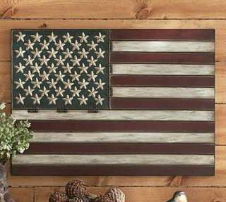 Vintage Metal American FLAG WALL ART Folk Americana 36