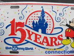 Disney Walt Disney World Mickey Mouse 15 Years Metal LIcense Plate