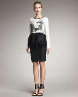 3KPB Jason Wu Floral Print Jersey Shirt & Ostrich Trim Zibeline Skirt