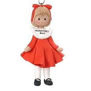 Personalized Little Girl in Red Dress Christmas Ornament