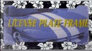 BLACK HAWAIIAN FLOWER LICENSE PLATE FRAME ISLAND L344