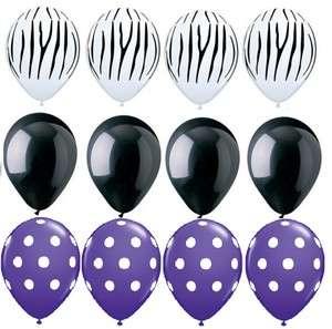 ZEBRA Stripes PRINT Purple White Dots 12 Piece Latex Helium Party