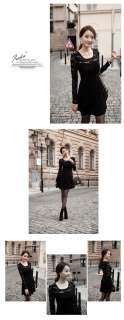 Lady Spring Suit Long Sleeve Lace Crochet FLORAL Swing Slim Dress