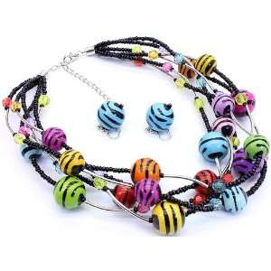 Cowgirl Rock Wild Zebra Print Multi Strand Necklace