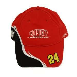 JEFF GORDON DUPONT RED BLACK # 24 CAP HAT NASCAR COTTON