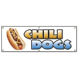 72 CHILI DOGS BANNER SIGN hot dog cart stand signs: Patio