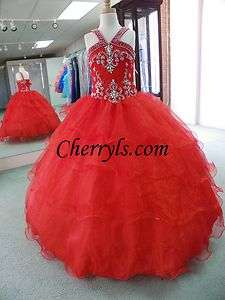 FASHIONS 1081 Red Size 8 GIRLS NATIONAL PAGEANT GOWN DRESS NWT