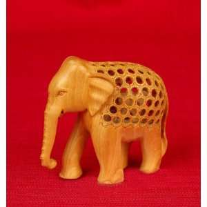 Miami Mumbai Jali Elephant Wood StatueWC036