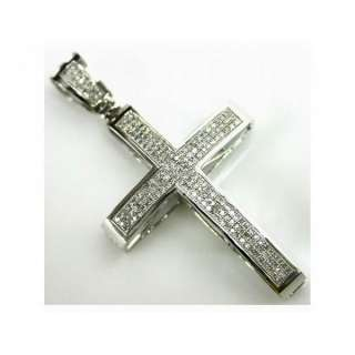 NEW Diamond Micro Pave Gold Mens Cross Pendant