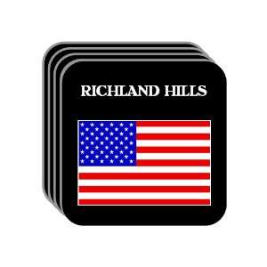 US Flag   Richland Hills, Texas (TX) Set of 4 Mini Mousepad Coasters