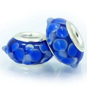 () Set of 2 (Two) blue flower murano glass
