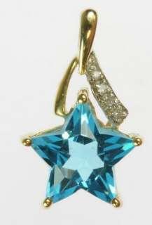 LADIES 10K YELLOW GOLD DIAMOND TOPAZ ESTATE PENDANT 150194