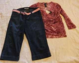 Womens Sz 10 Levis 545 Capri Jeans w/ Belt & NWT Shirt L