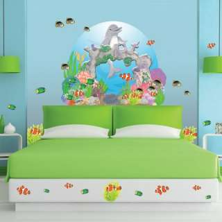 Kids Dolphin Fish Coral Reef Under The Sea Wall Mural