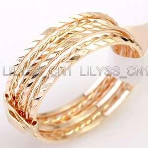 Linked 7 Bands 18K Gold Plated Ring Set 151RG